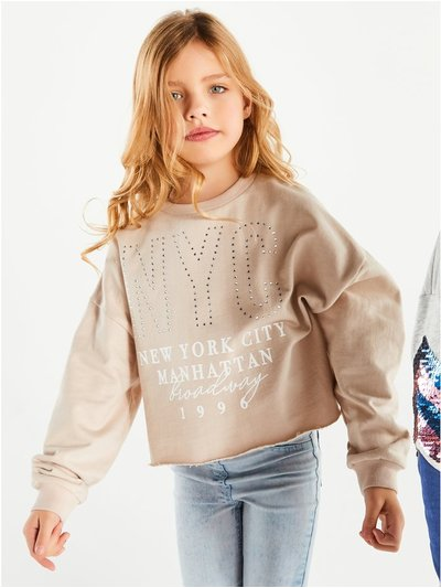 NYC diamante slogan sweatshirt (3-12yrs)