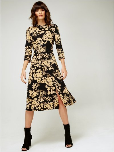 High neck floral print dress