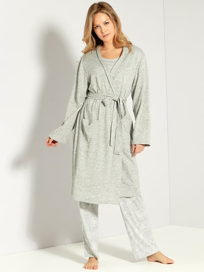 Grey jersey dressing gown