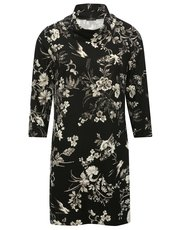 Floral print cowl neck tunic dress