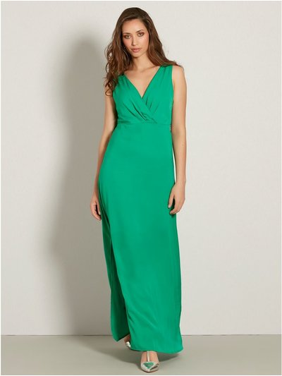 VILA satin wrap front maxi dress