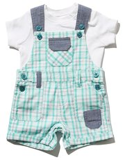 Checked dungaree set
