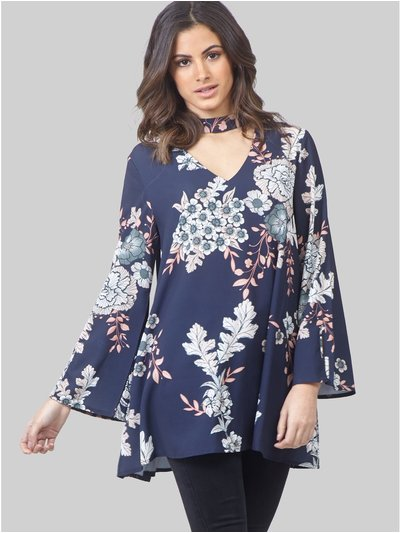 Izabel floral choker neck tunic top