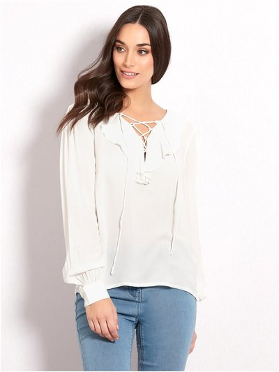 VILA lace up frill blouse