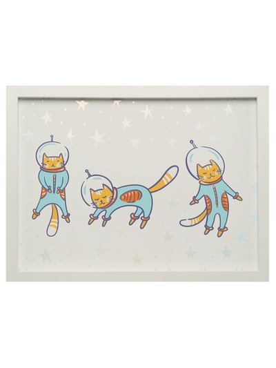 Cat astronaut framed canvas print