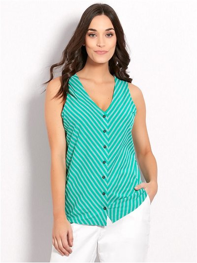 Stripe button front vest top