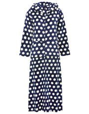 Polka dot fleece zip robe