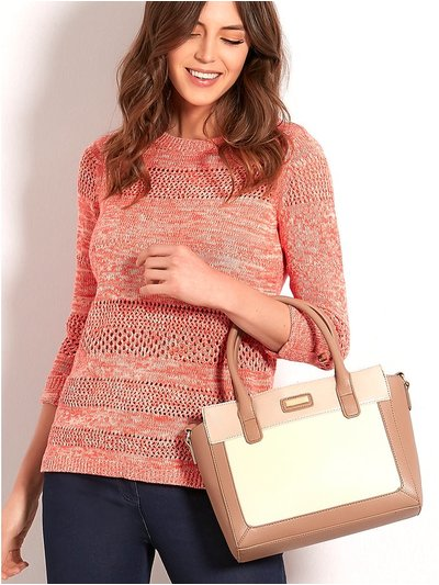 Taupe colour block tote