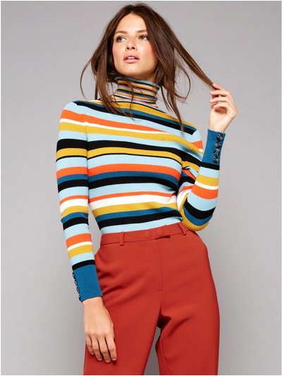Petite stripe roll neck jumper