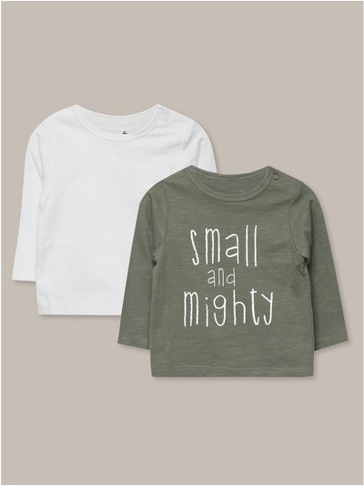 Small and mighty long sleeve t-shirt two pack (Newborn-18mths)