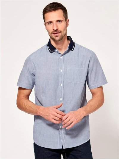 Polo collar striped short sleeve shirt