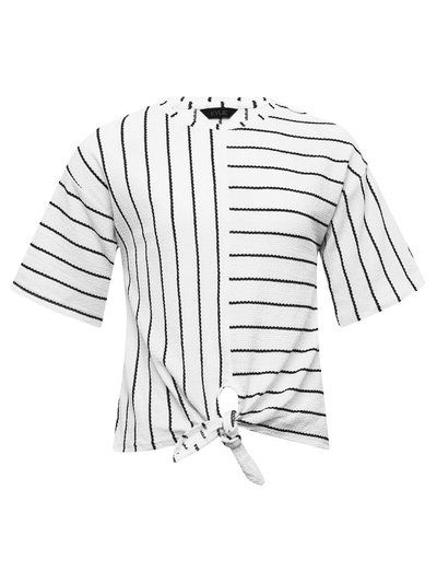 Teen stripe tie front top