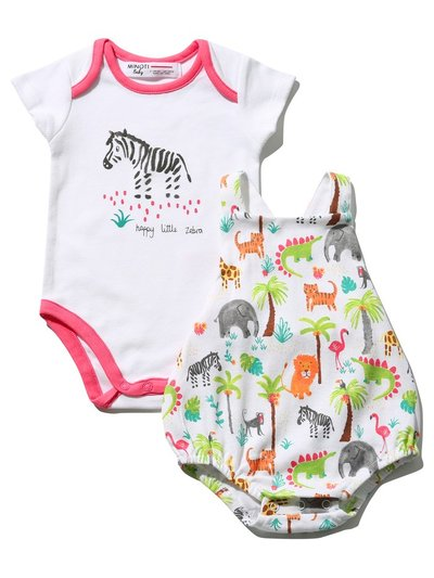 Minoti jungle bodysuit and bibshort set
