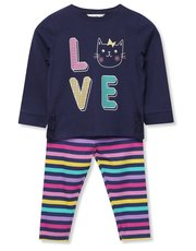 Cat slogan top and leggings set (9mths-5yrs)