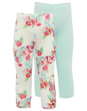 Butterfly print cropped leggings two pack