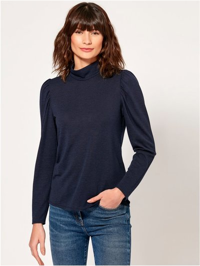 Puff shoulder high neck top
