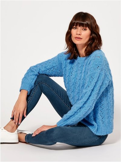 Cable eyelash knit jumper