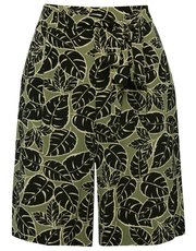 Leaf print tie front shorts
