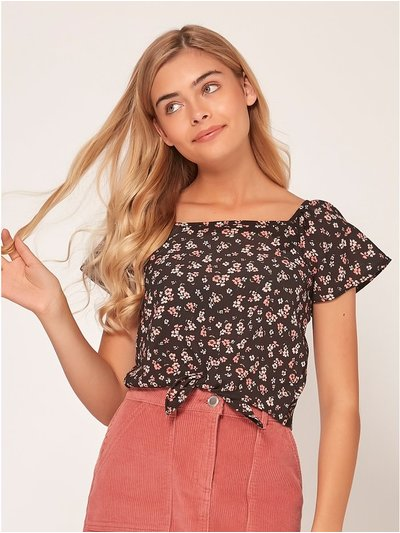 Teen square neck floral print top