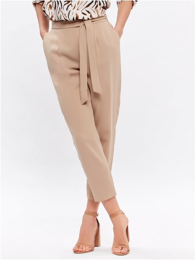 Petite belted crepe trousers