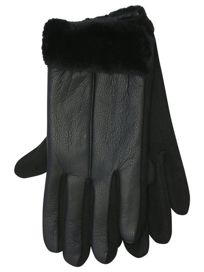 Faux fur leather gloves