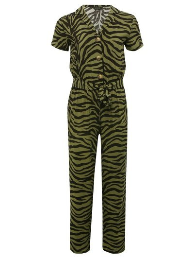Teen animal print utility jumpsuit