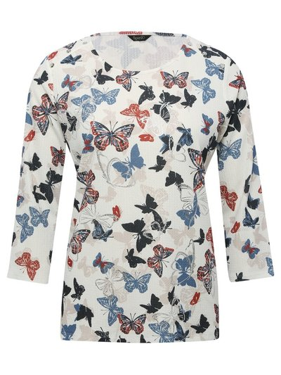 Spirit crinkle butterfly print top