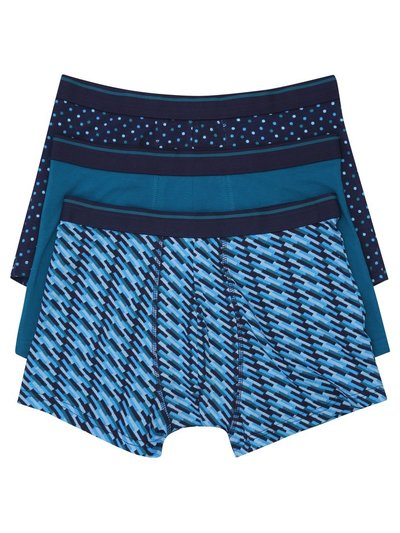 Stretch cotton turquoise trunks three pack