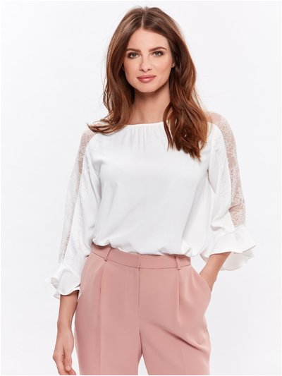 Petite lace trim frill sleeve top