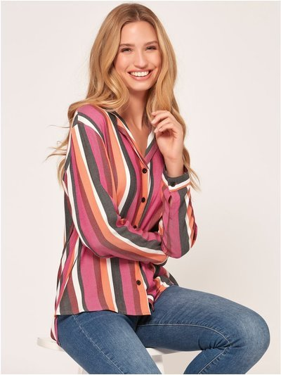 Stripe revere collar shirt