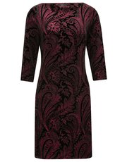 Glitter velvet paisley shift dress