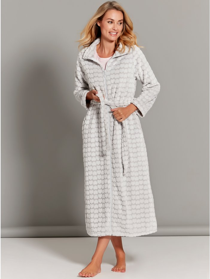 Heart Zip Front Dressing Gown | Women\'s Dressing Gowns | M&Co