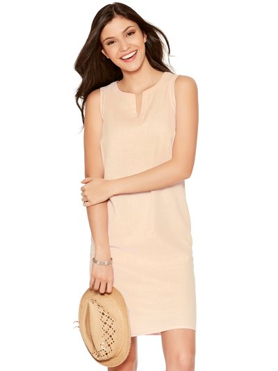 Plain linen blend shift dress
