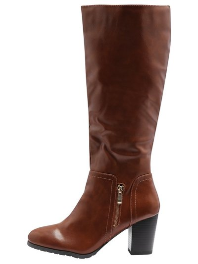 Lady side zip mid heel high leg boot