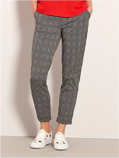 JDY check print trousers