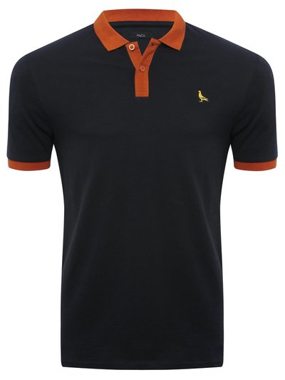 Contrast trim embroidered polo shirt