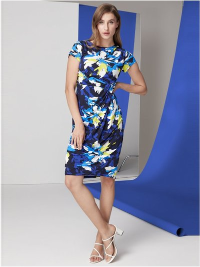 Roman Originals floral print side twist dress