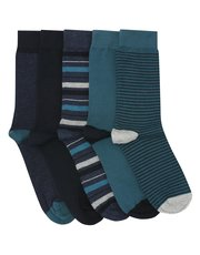 Teal stripe and plain sock five pack
