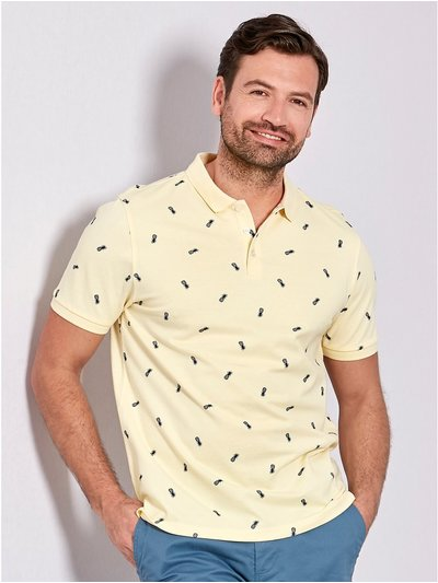 Pineapple print polo shirt