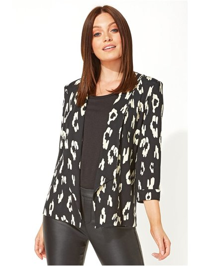 Roman Originals animal print jersey blazer