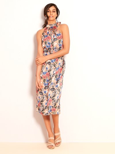 VILA floral halterneck midi dress