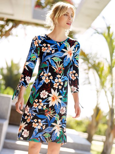 Floral tie sleeve fit and flare dress