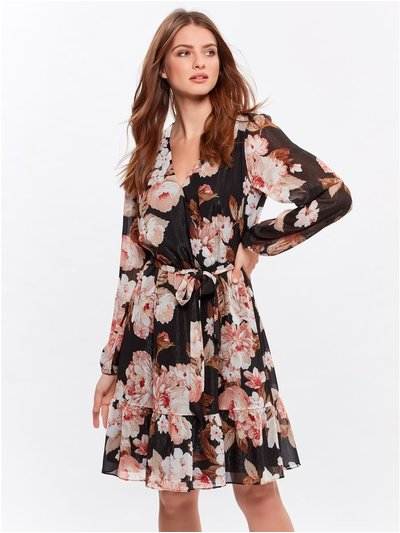 Petite glitter floral wrap dress
