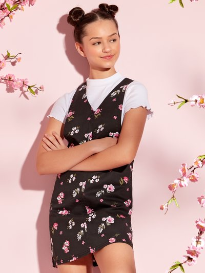 Teens' floral pinafore dress