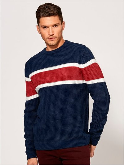 Colour block waffle knit jumper