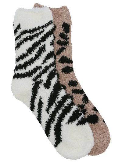 Animal print cosy socks two pack