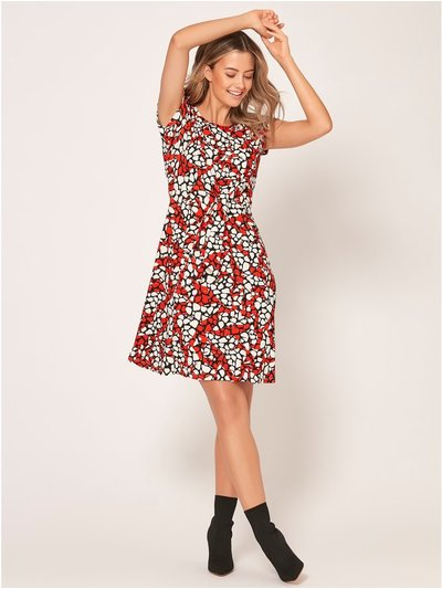 Petite abstract print skater dress
