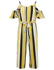 Teens' stripe bardot jumpsuit