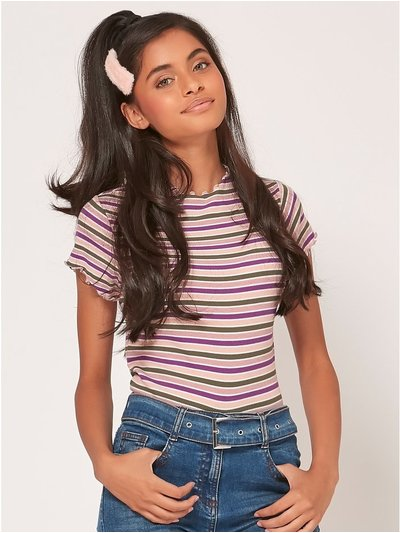 Teen striped lettuce hem top
