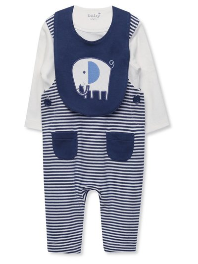 Striped dungarees top and bib set (Newborn-18mths)